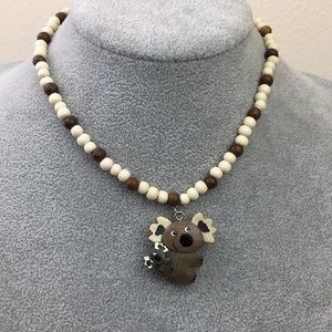 Kangawho necklace wooden beaded koala bear pendant